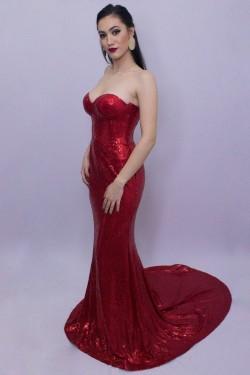 Rochie rosie lunga de seara din paiete