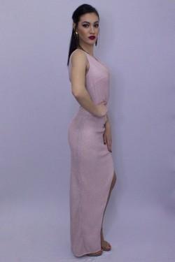 Rochie roz pal lunga de seara din lurex