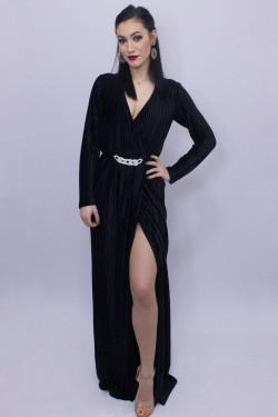 Rochie neagra lunga de seara din catifea