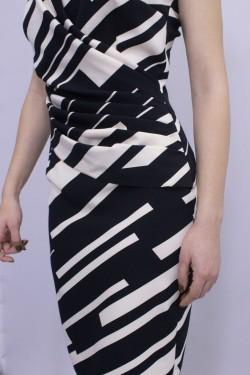 Rochie eleganta alb/negru