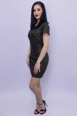 Rochie eleganta scurta cu pietricele negre si aurii