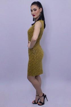 Rochie scurta din piele de sarpe mustar