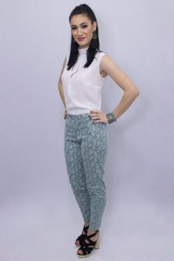 Pantaloni din piele ecologica turcoaz