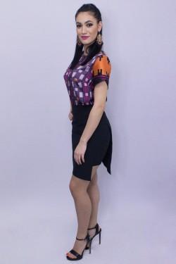 Bluza multicolora cu maneca scurta tip petala