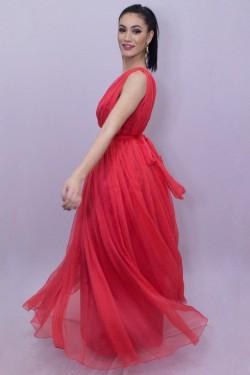 Rochie rosie lunga de seara din voal natural