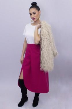 Fusta roz din amestec lana