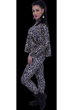 Bluza din catifea imblanita design leopard