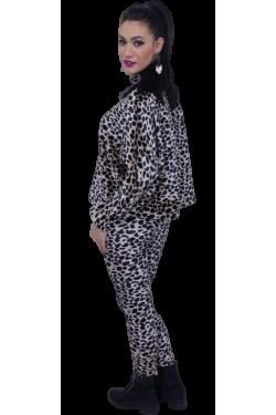 Colanti din catifea imblanita cu design leopard