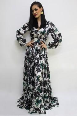 Rochie lunga din matase palmieri